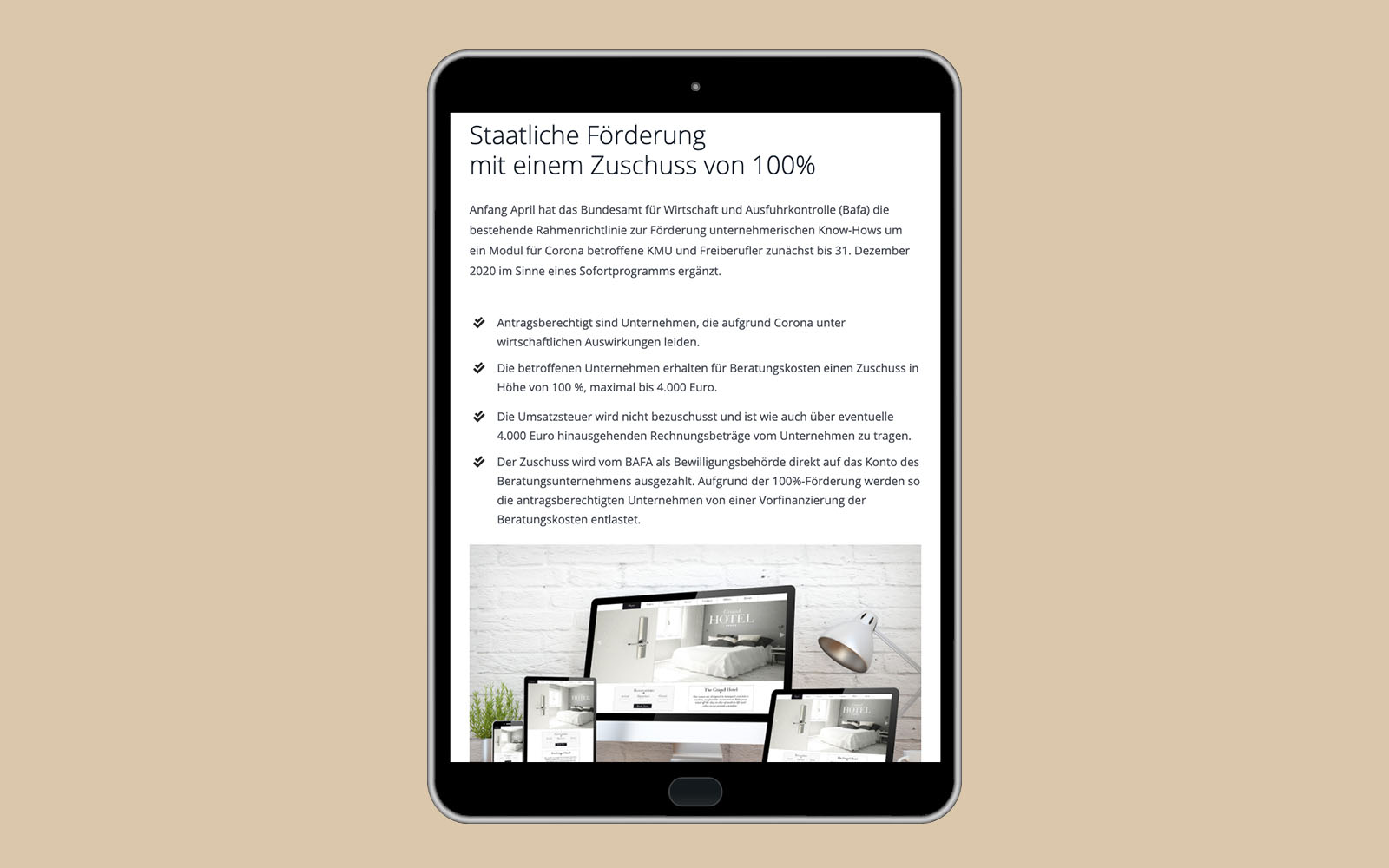 Tabletversion Hotel Marketing Experten